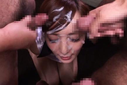 Kaede fuyutsuki. Kaede Fuyutsuki Asian cheerleader has face under sperm rain