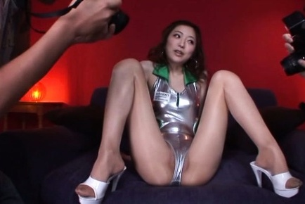 Ai haneda. Ai Haneda Asian in spandex and high heels spreads excited legs