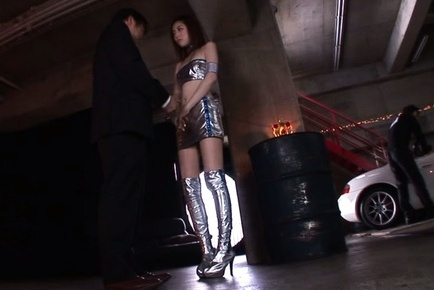 Ai haneda. Ai Haneda Asian in long boots has boobies touched in car parking