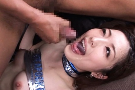 Ai haneda. Ai Haneda Asian in shinny latex gets cumshot in