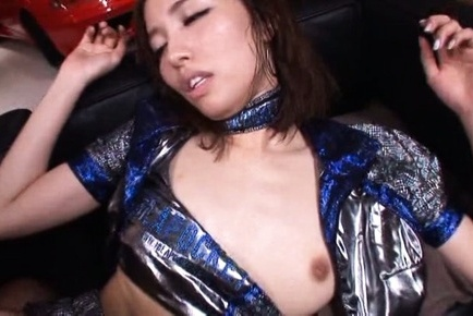 Arisu miyuki. Arisu Miyuki Asian in shiny dress rides penish