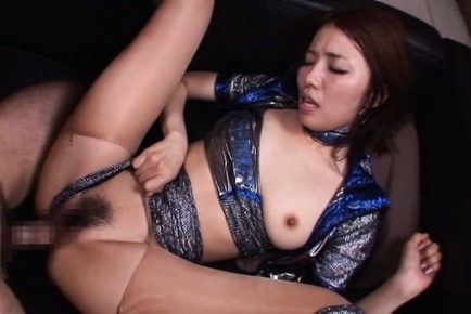 Arisu miyuki. Arisu Miyuki Asian in shiny dress licks ejaculate on lips after fucked