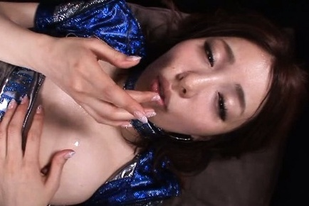 Arisu miyuki. Arisu Miyuki Asian in shiny dress licks ejaculate on lips after have intercourse