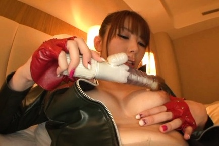Yui hatano. Yui Hatano Asian in latex and nylon gets dildo to use in twat