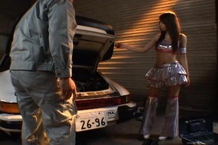Jessica Kizaki looking sexy in her tiny racequeen miniskirt