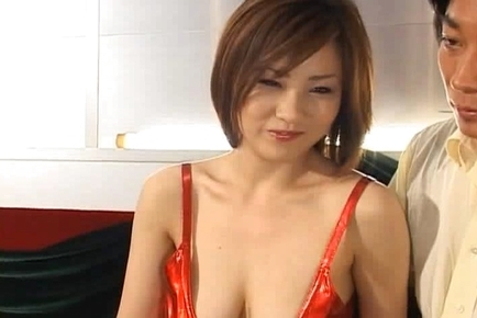 Japanese AV Model lifts up her skirt to show her pussy and nylons